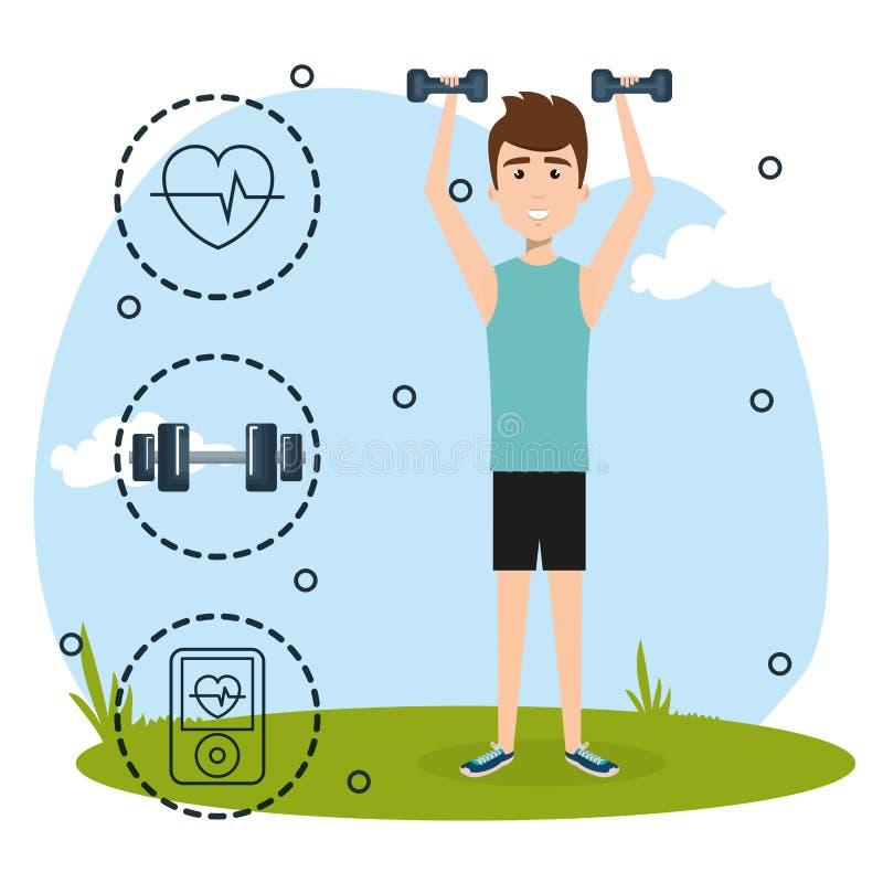 Levantamiento de pesas del hombre con los iconos de los deportes libre illustration