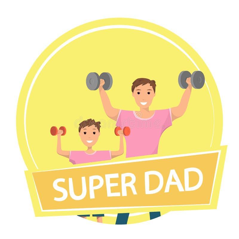 Levantamiento de pesas de entrenamiento permanente feliz del hombre y del niño ilustración del vector