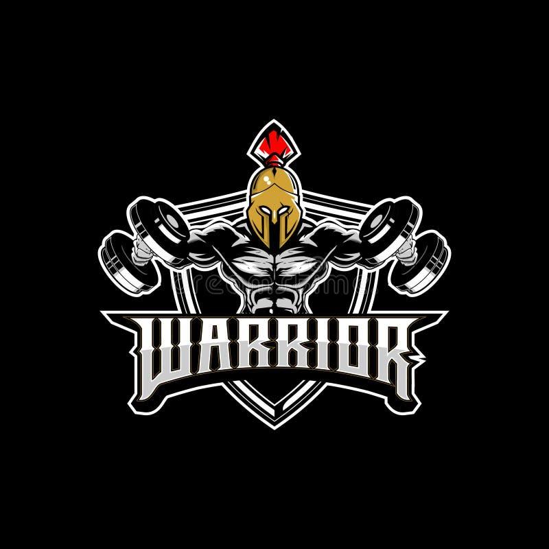 Levantamiento de pesas espartano del guerrero con la plantilla del logotipo de la insignia del vector de la pesa de gimnasia ilustración del vector