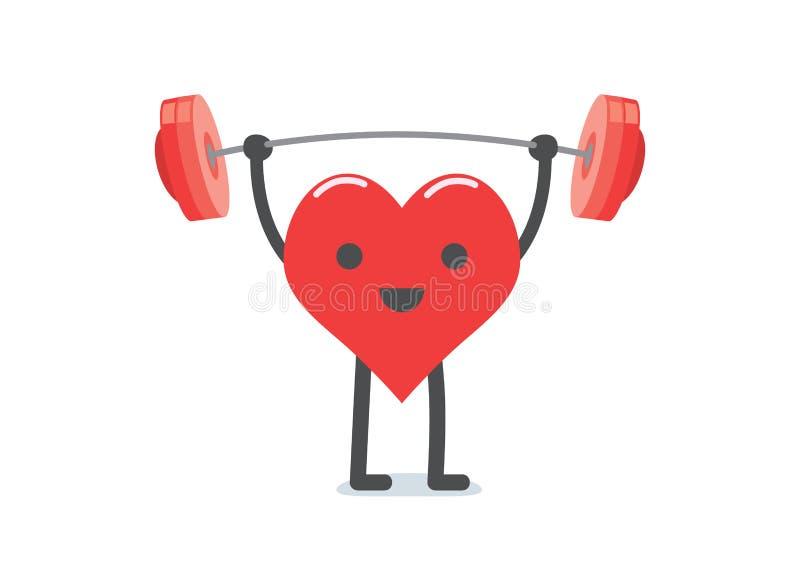 Levantamiento de pesas fuerte del corazón stock de ilustración