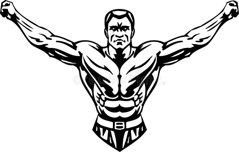 Levantamiento de pesas y Powerlifting - vector. stock de ilustración