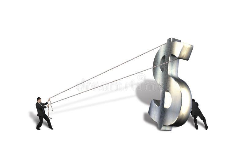 Levantamiento de símbolo grande del dinero de metal 3d stock de ilustración