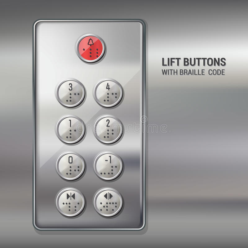 Levante botões com código do braile ilustração do vetor