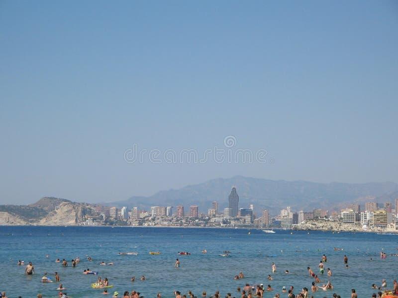 Levante plaży widok w Benidorm Hiszpania Alicante zdjęcia royalty free