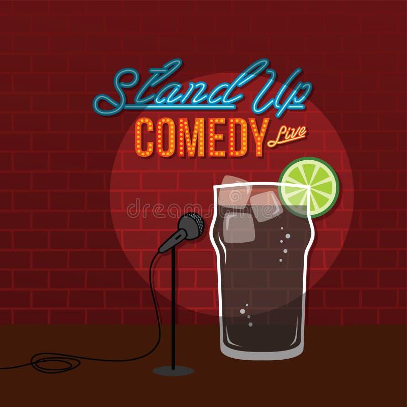 Levante-se a bebida aberta da cola do casco do mic da comédia ilustração royalty free