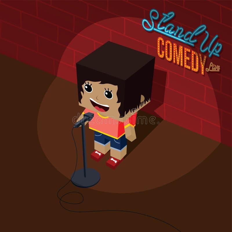 Levante-se cômico fêmea aberto do mic da comédia na fase isométrica ilustração stock