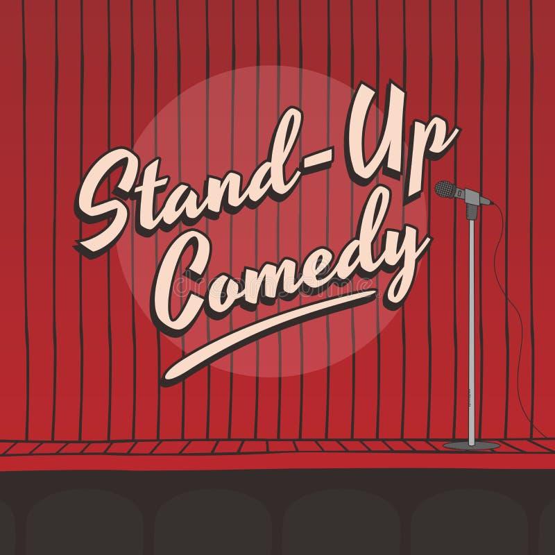 Levante-se a cortina viva do vermelho da fase da comédia ilustração royalty free