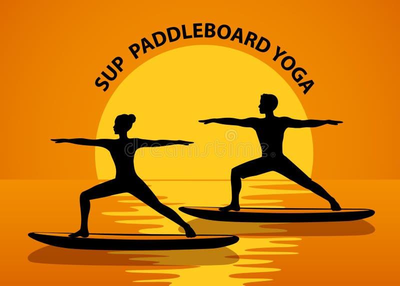 Levante-se a ioga de Paddleboard ilustração stock