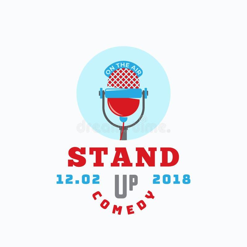 Levante-se o sinal, o emblema ou Logo Template abstrato do vetor da comédia Ícone liso do microfone do estilo com tipografia retr ilustração stock