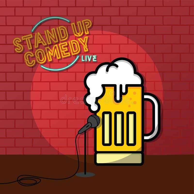 Levante-se o tema da cerveja da comédia ilustração royalty free