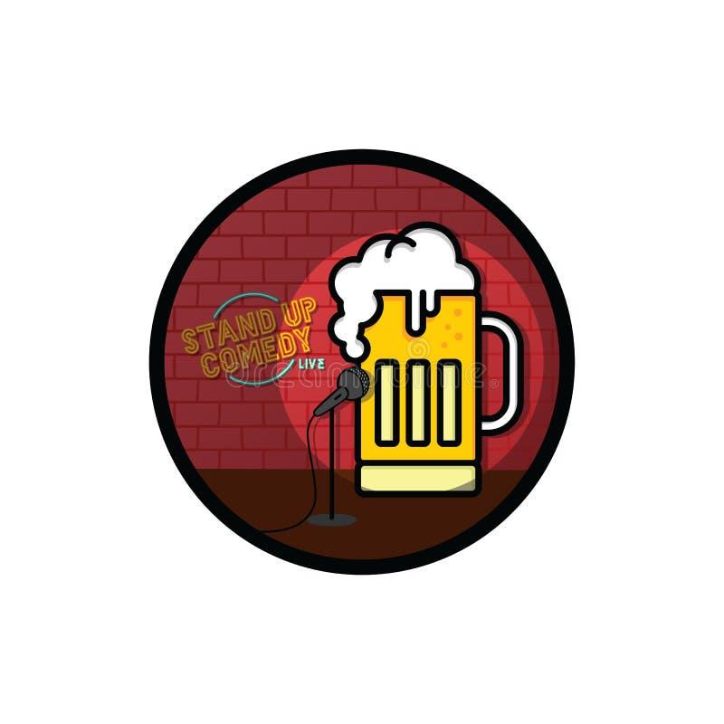 Levante-se o tema da cerveja da comédia ilustração do vetor