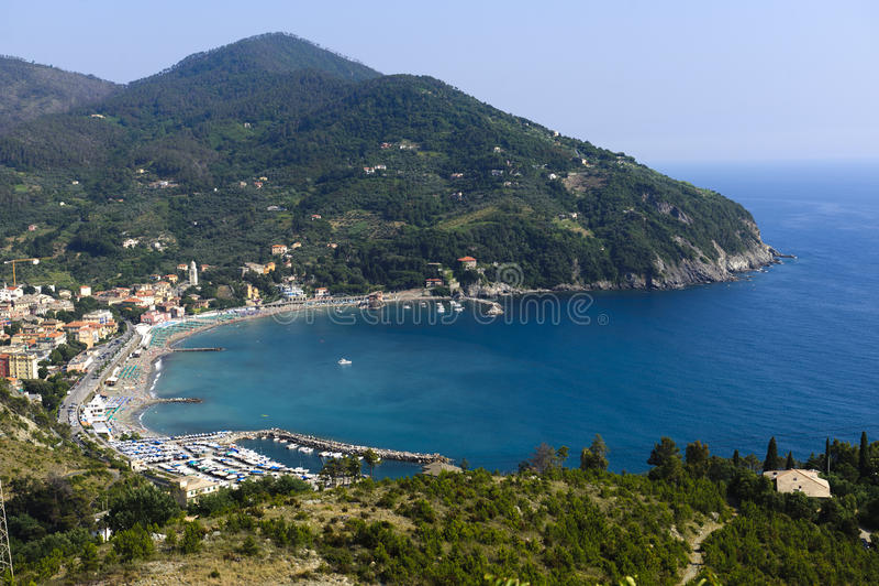 Levanto (Genova, Italy). Levanto (Genova, Liguria, Italy), panoramic view stock images