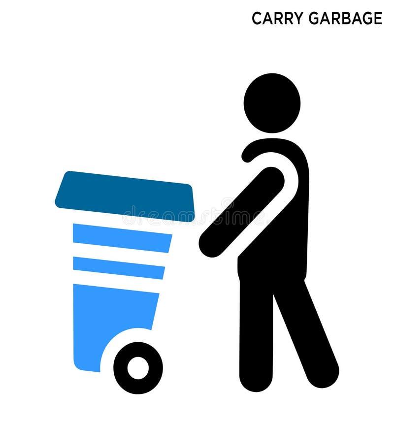 Leve o projeto editável do símbolo do ícone do lixo ilustração stock