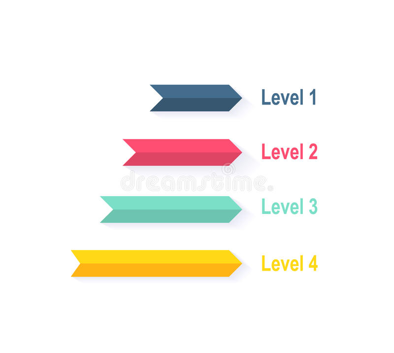 3d Design Using Home Designer Chief Architect Multi Level: Level Chart With Colored Arrows Stock Vector