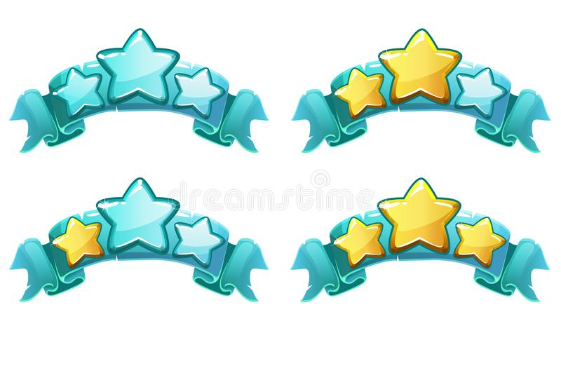 Vector Level complete ranking banners with stars on blue ribbon royalty free illustration
