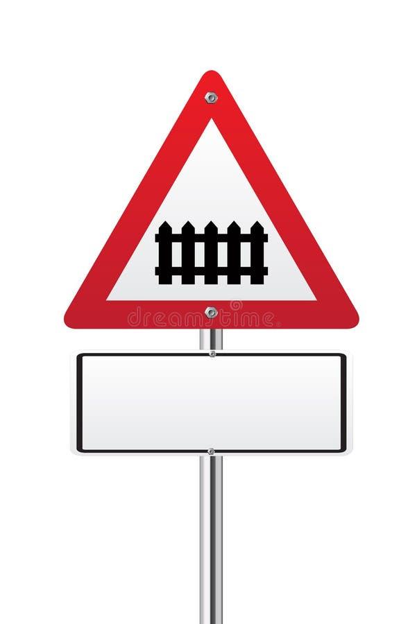 Level crossing med tecknet för barriär framåt royaltyfri illustrationer