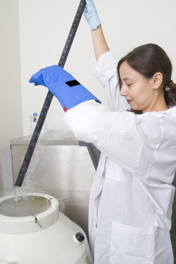 Level dimension of liquid nitrogen. Part of work in biological laboratory royalty free stock image