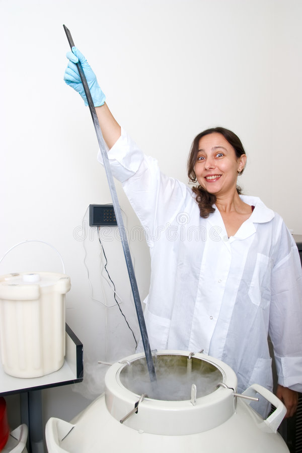 Level dimension of liquid nitrogen. Part of work in biological laboratory stock photos
