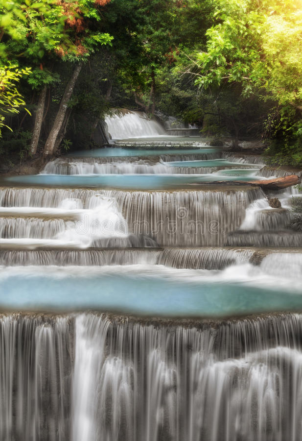 Level Four Of Huai Mae Kamin Waterfall Royalty Free Stock Images