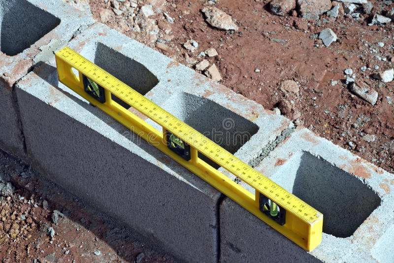 Level of gray bricks in construction building. Maua, SP, Brazil - November 11, 2015 stock photos