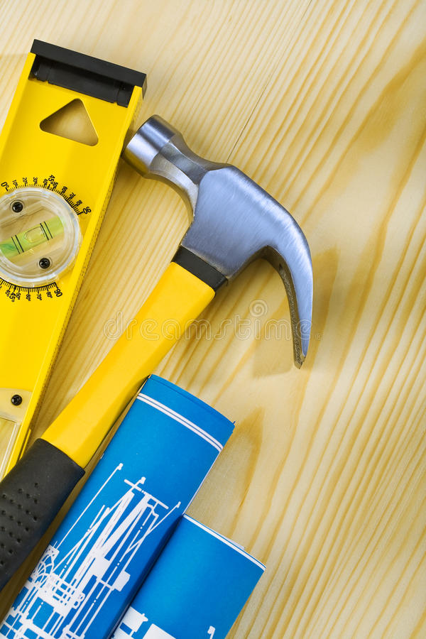 Download Level Hammer And Blueprints Stock Photo - Image: 25399520