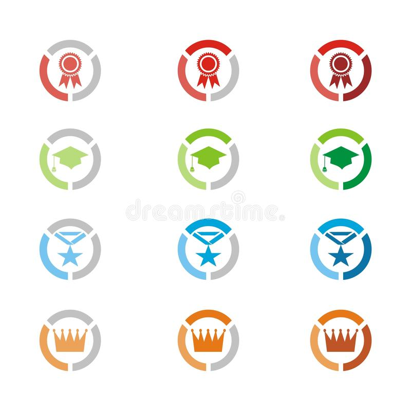 Level icons, level badges. Suitable for user interface stock illustration