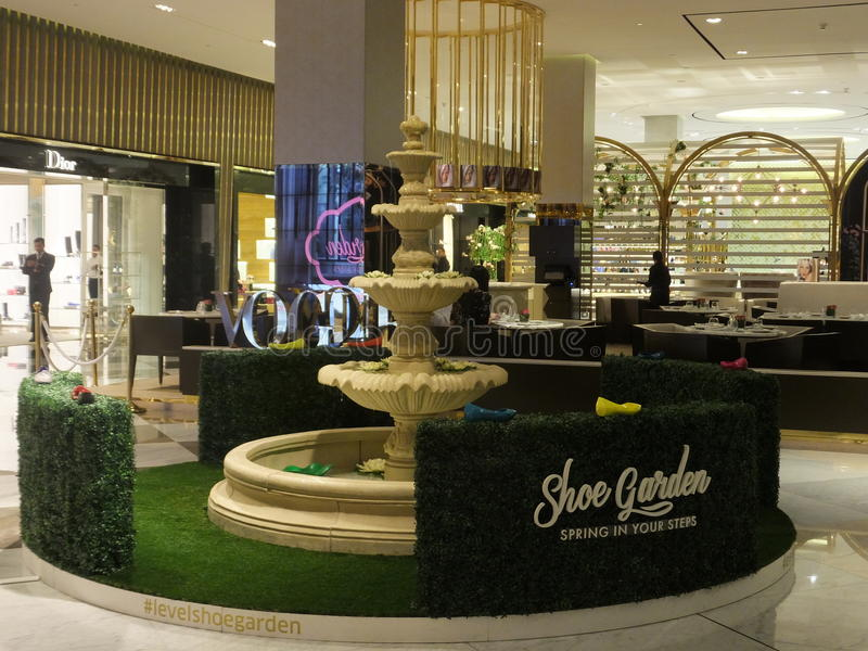 Level Shoe District at Dubai Mall in Dubai, UAE. Level Shoe District (Shoe Garden) at Dubai Mall in Dubai, UAE. The Dubai Mall is the world's largest shopping royalty free stock image