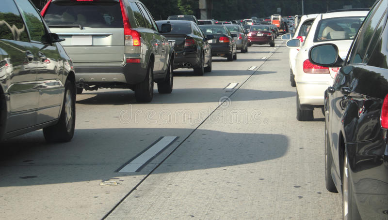 Level trafikstockning för bil. arkivfoto
