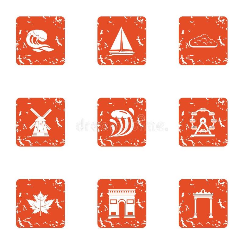 Level of travel icons set, grunge style. Level of travel icons set. Grunge set of 9 level of travel vector icons for web isolated on white background vector illustration