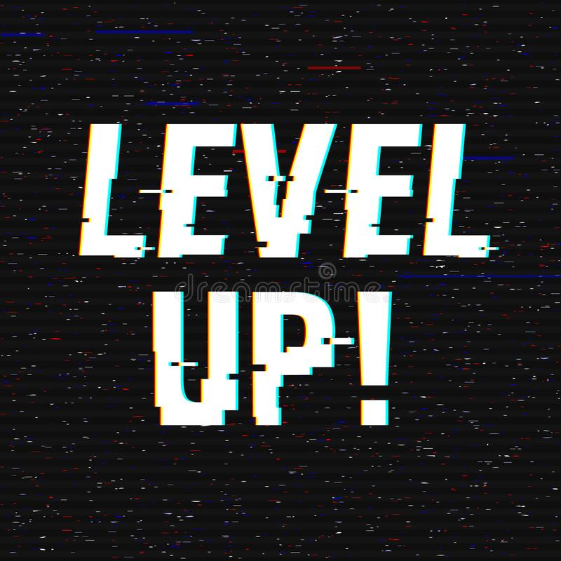 Level Up glitch text. Anaglyph 3D effect. Technological retro background. Vector illustration. Creative web template royalty free illustration