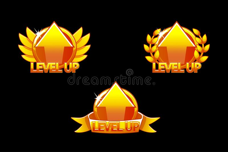 Level UP icon, Game golden icons. Graphical user interface GUI to build 2D games. Casual Game. Can be used in mobile or. Web game. Icons on a separate layer vector illustration