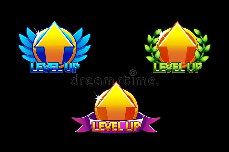 Level UP icon, Game icons. Graphical user interface GUI to build 2D games. Casual Game. Can be used in mobile or web. Game. Icons on a separate layer stock illustration