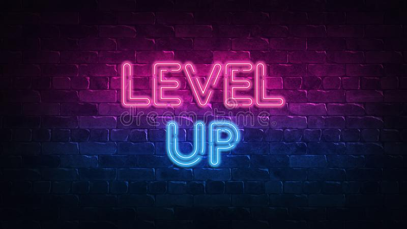 Level Up neon sign. purple and blue glow. neon text. Brick wall lit by neon lamps. Night lighting on the wall. 3d render. Level Up neon sign. purple and blue stock illustration