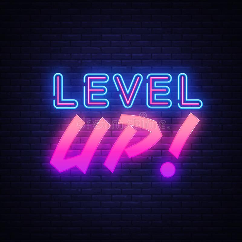 Level UP neon sign vector. Gaming Design template neon sign, light banner, neon signboard, nightly bright advertising royalty free illustration