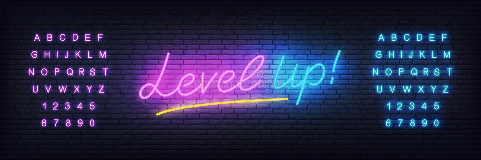 Level up neon template. Glowing lettering for game club stock illustration