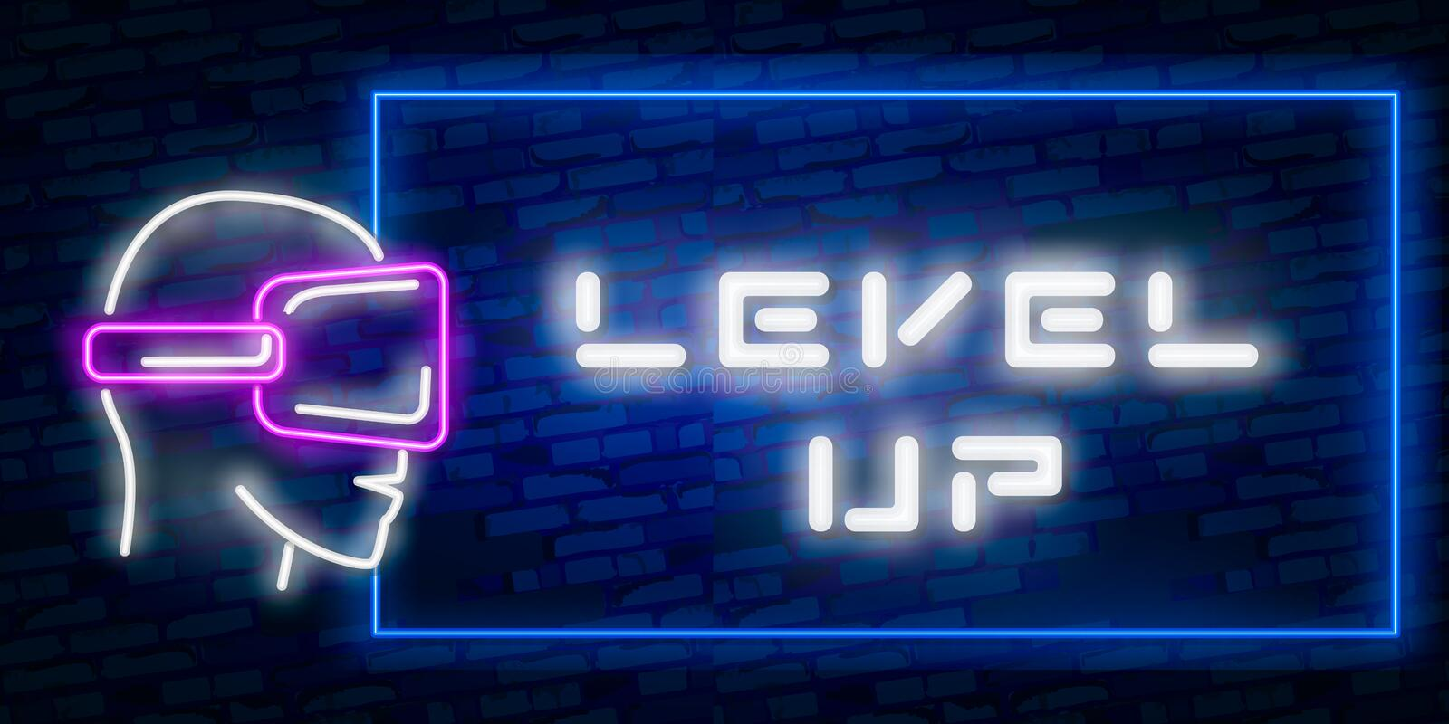 Level Up Neon Text Vector With Brick Wall Background. design template modern trend design night neon signboard night bright royalty free illustration