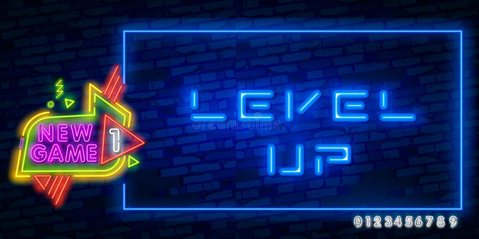 Level Up Neon Text Vector With Brick Wall Background. design template modern trend design night neon signboard night bright vector illustration