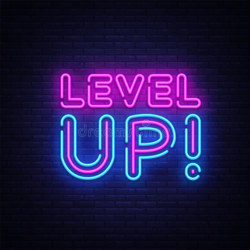Level Up Neon Text Vector. Level Up neon sign, design template, modern trend design, night neon signboard, night bright stock illustration