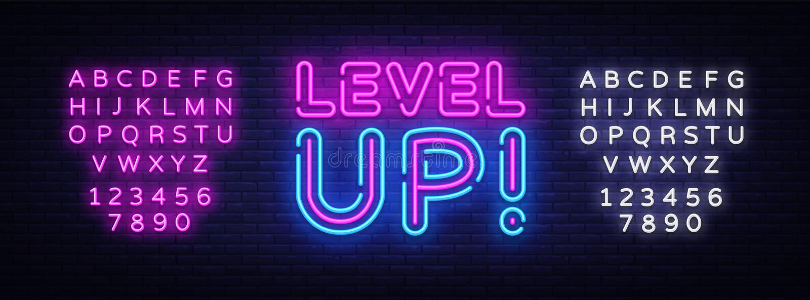 Level Up Neon Text Vector. Level Up neon sign, design template, modern trend design, night neon signboard, night bright royalty free illustration