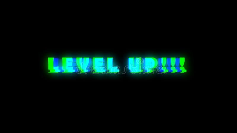 Level UP text with bad signal. Glitch effect stock illustration