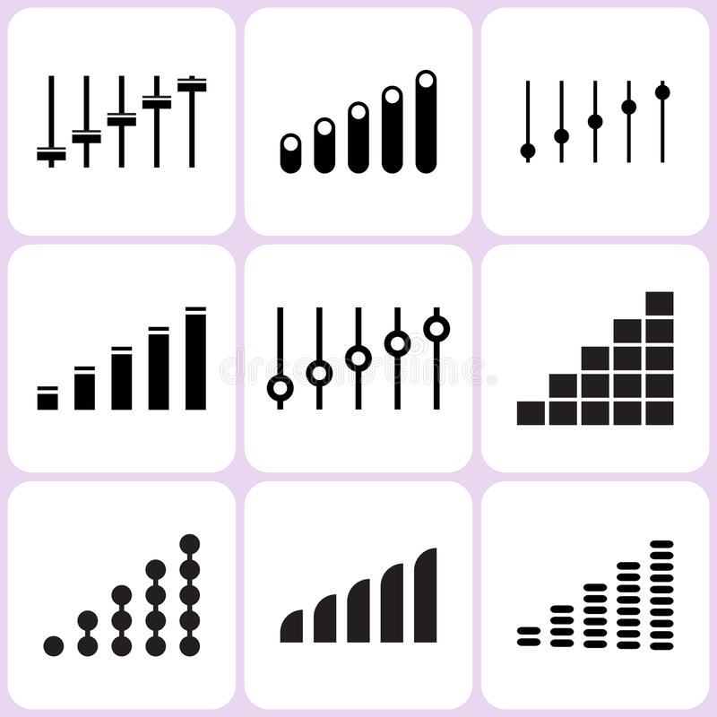 Level and Volume Icons. Set royalty free illustration