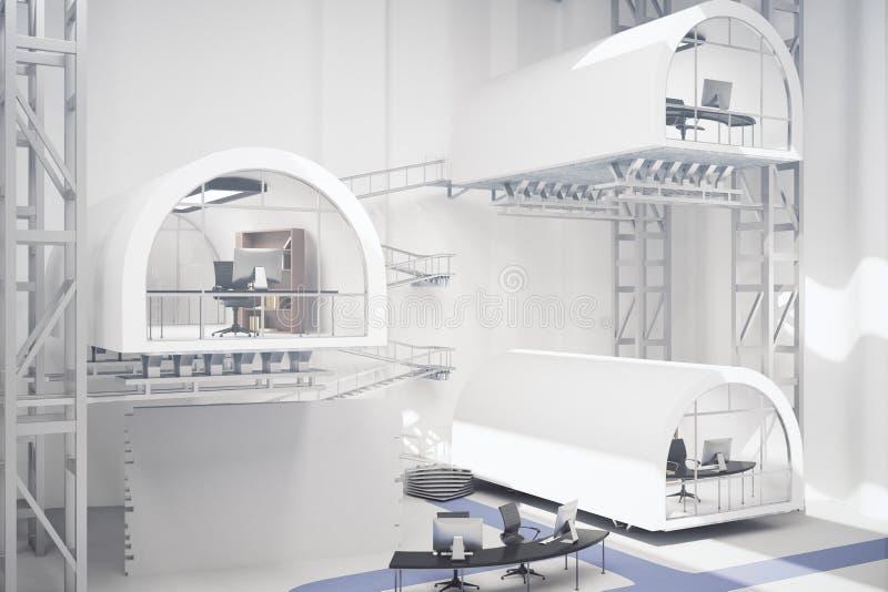 Leveled office interior. Futuristic levelled office interior. 3D Rendering stock illustration