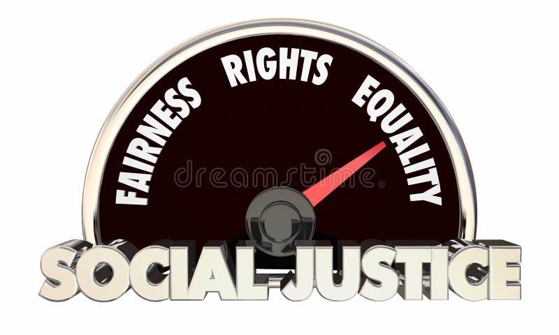 Levels Equality Fairness för social rättvisa medborgerliga rättigheter 3d Illustra royaltyfri illustrationer