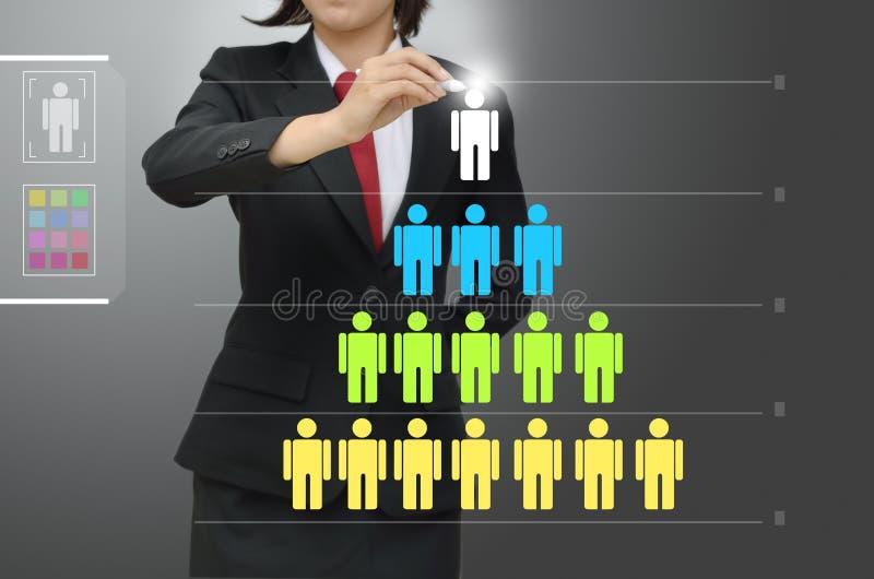 Levels of manpower management. Business woman drawing levels of manpower management vector illustration