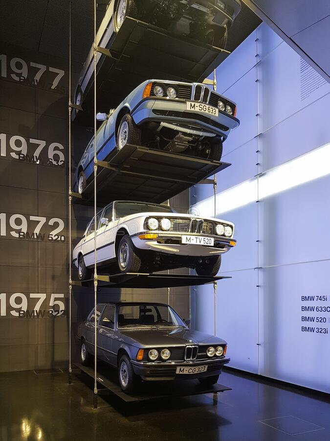 Levels of old BMW cars. Exhibition in BMW Museum, Munich. German car manufacturer. Ages of BMW car models. Showcase the vintage BMW stock photo