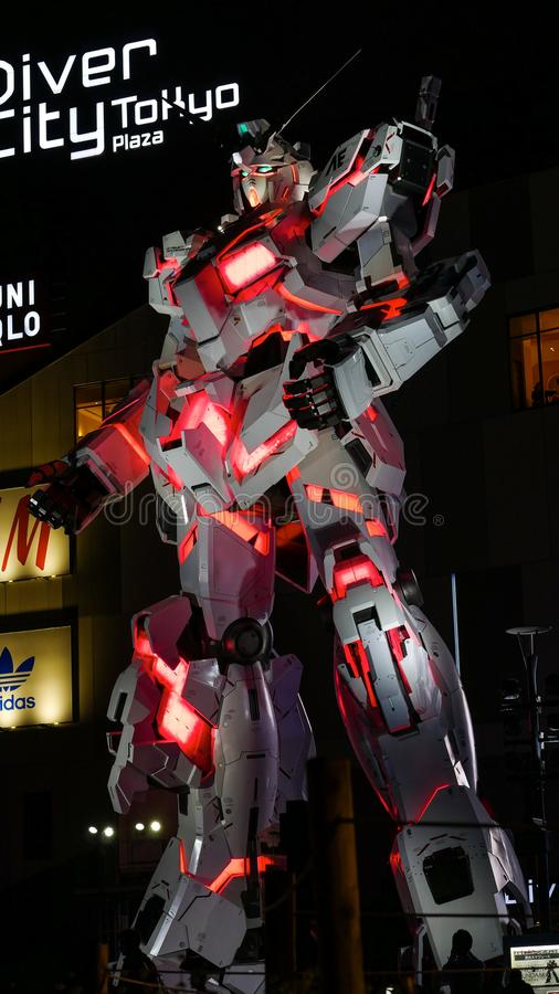 Leven-gerangschikte Gundam in Tokyo, Japan royalty-vrije stock foto