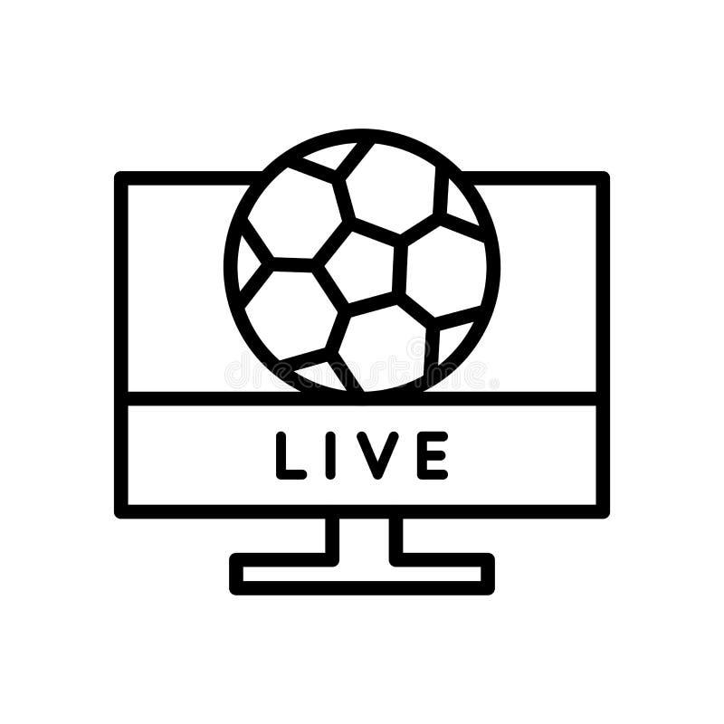 Levend de stroompictogram van voetbalwedstrijdtv het eenvoudige symbool van de de stijlsport van het illustratieoverzicht royalty-vrije illustratie