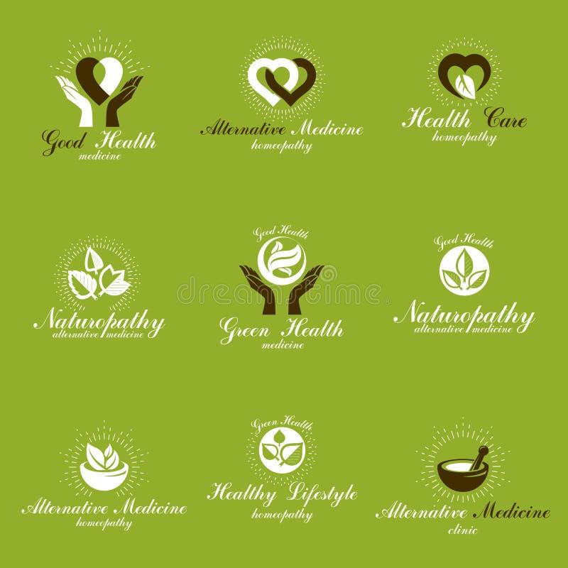 Levend in harmonie met aardmetafoor, reeks groene emblemen van het gezondheidsidee royalty-vrije illustratie