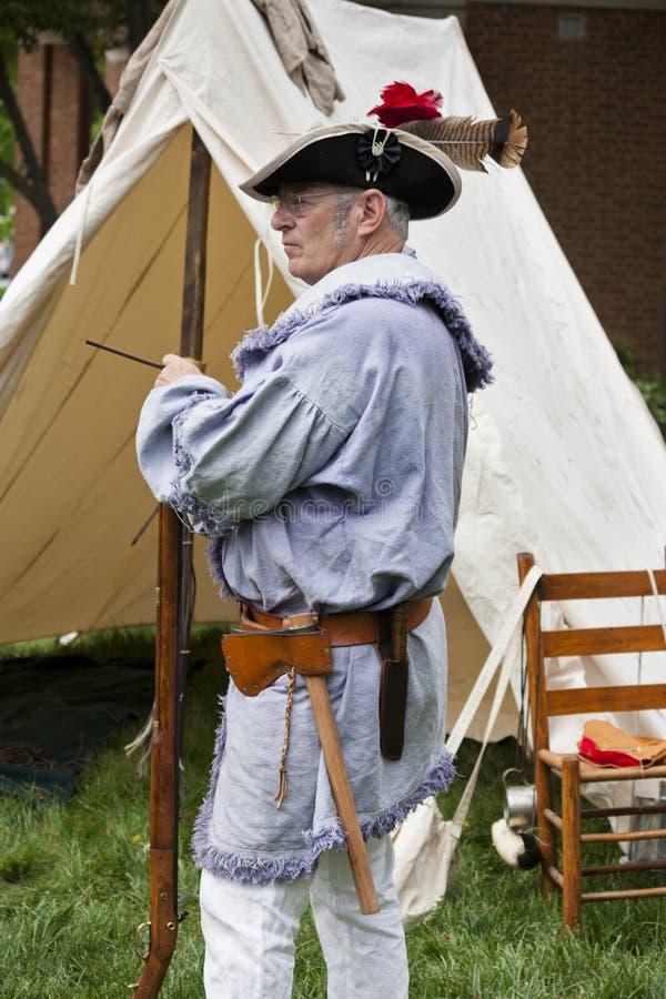 Levende historicus die aan de Oorlog van Herdenking 1812 in Warrenton, Virginia deelnemen royalty-vrije stock afbeeldingen
