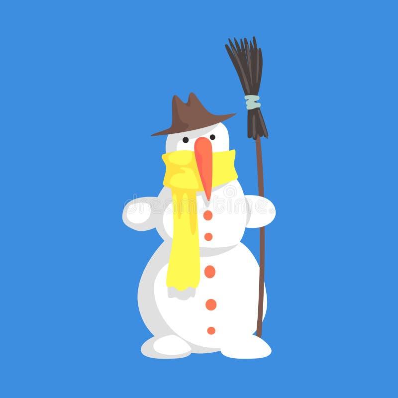 Levende Klassieke Drie Sneeuwbalsneeuwman die in Hoed en Gele Sjaal een het Karaktersituatie houden van het Bezembeeldverhaal vector illustratie